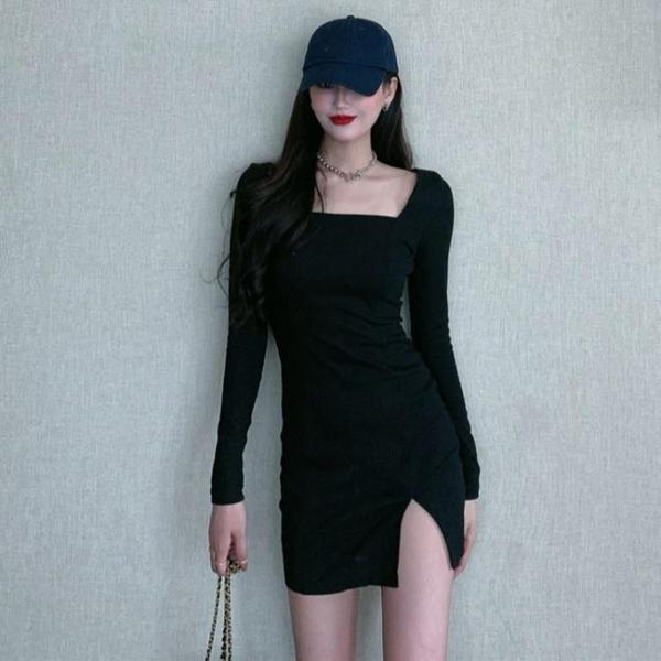 洋裝 2021年新款春秋季收腰顯瘦法式氣質性感長袖緊身連衣裙女【牛年大吉】
