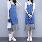 微購【A4385】格子牛仔拼接吊帶裙 XL-5XL