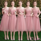 洋裝伴娘禮服女2019春款仙氣質韓版中長款顯瘦高貴粉色伴娘團姐妹裙夏