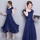 洋裝 短袖真絲連身裙修身大擺A字百褶裙 降價兩天