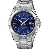 CASIO 卡西歐 城市簡約手錶-藍x銀 MTP-1308D-2AV / MTP-1308D-2AVDF