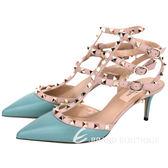 VALENTINO ROCKSTUD ANKLE STRAP鉚釘繫帶高跟鞋(綠) 1520451-08