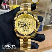 【INVICTA】繩索系列 - 三眼計時腕錶 - 金色鋼鍊