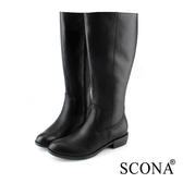 SCONA 蘇格南 全真皮 經典簡約率性長靴 黑色 8784-1