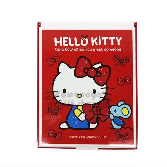 〔小禮堂〕Hello Kitty 方形折疊鏡《2款.隨機出貨.紅/白.蝴蝶結》可變立鏡 4712937-66877