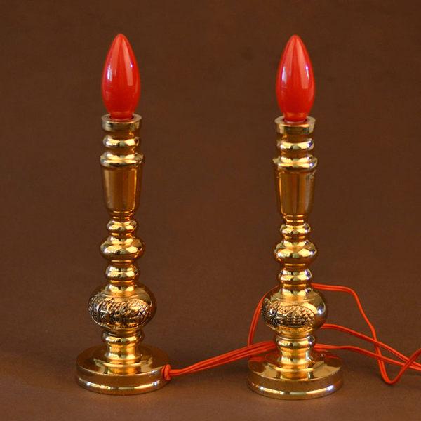 電蠟燭供燈財神燈長明燈佛前燈合金電燭台佛關公燈香燭台佛教用品  618好康又一發