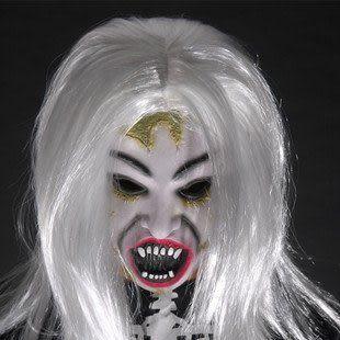 萬聖節面具 恐怖仿真白發魔女