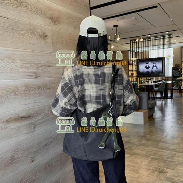 原宿帆布包韓版單肩托特包斜挎百搭大容量斜挎包【樹可雜貨鋪】