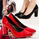 尖頭紅色高跟鞋2020秋鞋女皮鞋粗跟淺口工作鞋大碼中跟單鞋新娘鞋 依凡卡時尚