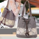 刺繡包包包帆布側背包抽帶水桶包甜美可愛民族風時尚側背女包包 爾碩數位3c
