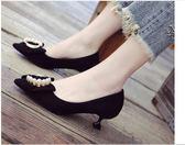 低跟鞋3-5厘米女細跟水?蝴蝶結公主甜美性感小清