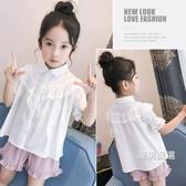 短袖襯衫女童短袖襯衫洋氣夏裝2018新品童裝中大童蕾絲邊白色上衣兒童襯衣