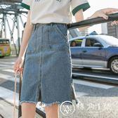 chic牛仔半身裙女2018新款中長款學生韓版高腰顯瘦ins超火港味a字