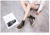 短筒雨鞋女韓國雨靴可愛時尚膠鞋韓版低筒厚底水鞋厚底楔形潮 完美情人館