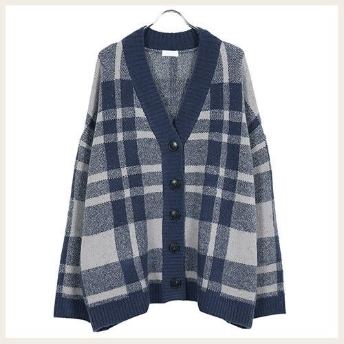 ✦Styleon✦正韓。不規則格紋排釦羊毛針織彈力外套。韓國連線。韓國空運。1031。