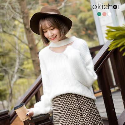 東京著衣-多色女伶挖領針織上衣(172906)
