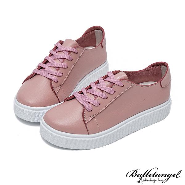 休閒鞋 質感素面真皮厚底松糕鞋(粉)*BalletAngel【18-728pk】【現貨】