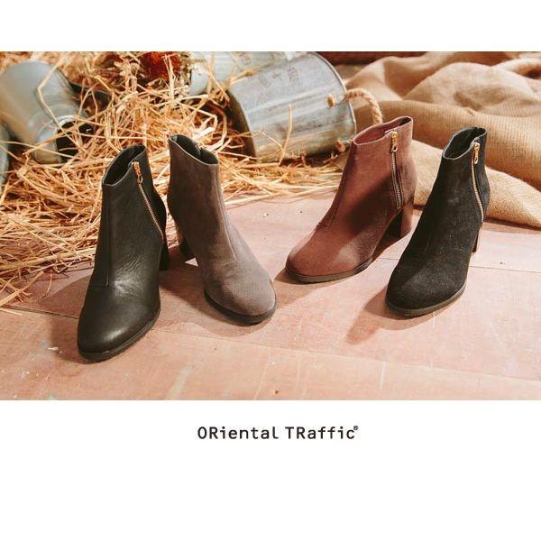 【ORiental TRaffic】洗鍊率性金屬拉鍊短靴-皮革黑