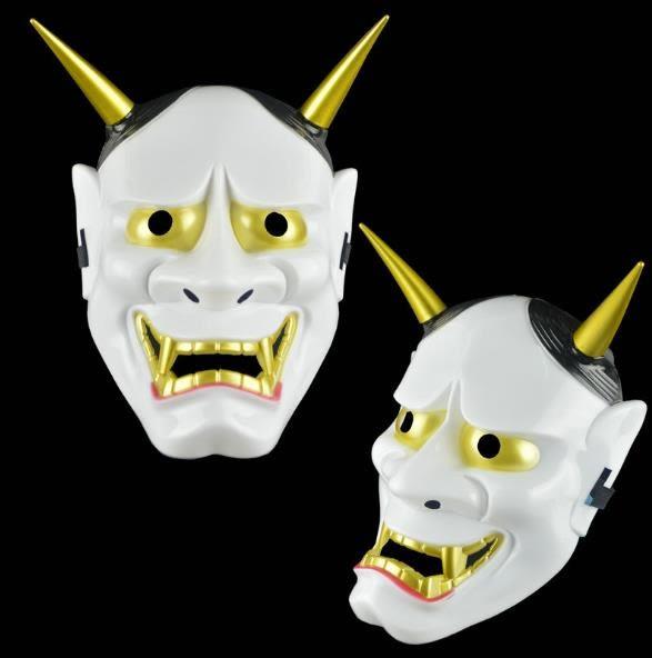 【塔克】萬聖節 日本般若面具 鬼首面具 白鬼願凜 面具/眼罩/面罩cosplay 派對 整人生日