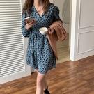 復古碎花V領長袖洋裝連身裙韓版【29-16-8L88547-21】ibella 艾貝拉