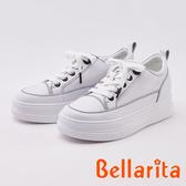 bellarita.素面綁帶牛皮厚底休閒鞋(0405-15白黑色)