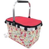 〔小禮堂〕Hello Kitty 可折疊保冷野餐籃提籃《紅黃.花朵滿版》野餐袋.保冷箱 4983164-75914