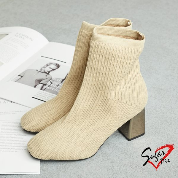 韓版氣質素面彈性襪靴