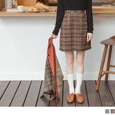 《CA2121》英倫風撞色格紋A字短裙 OrangeBear