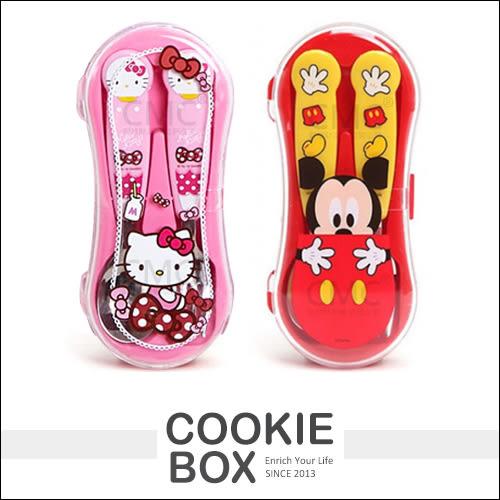 韓國 LILFANT 米奇 HELLO KITTY 凱蒂貓 餐具組 盒裝 湯匙 叉子 迪士尼 三麗鷗 兒童 可愛 *餅乾盒子*