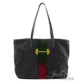 茱麗葉精品【全新現貨】PRADA 1BG065 限量 刺繡造型尼龍帆托特購物包.黑綠