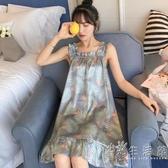 睡裙女夏季薄款冰絲睡衣可愛真絲綢吊帶性感帶胸墊春秋天網紅爆款 小時光生活館