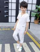 夏季兒童短袖套裝中棉麻衣服T恤兩件套裝 QQ269 『優童屋』