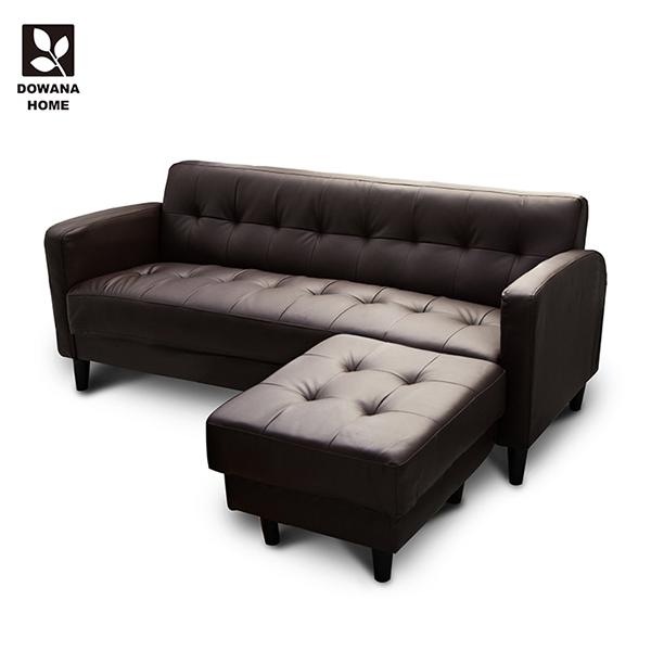 【多瓦娜】巧克派皮沙發/L型沙發(三人+腳椅)-兩色2143-3P+ST