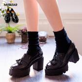 現貨-MIUSTAR 韓國學院風小流蘇防水台粗跟樂福鞋(共1色,36-40)【NE4270T1】