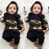 嬰兒長袖套裝  迷彩帽T+棉質長褲 寶寶童裝 SK8212 好娃娃