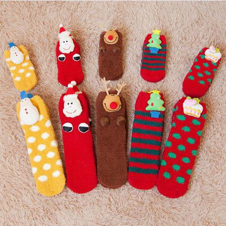 聖誕造型珊瑚絨保暖襪 襪子 毛襪 聖誕襪 保暖襪 毛巾襪 加厚 珊瑚絨 親子襪 交換禮物 聖誕禮物