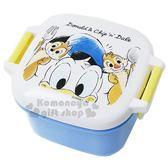 〔小禮堂〕迪士尼唐老鴨奇奇蒂蒂日製迷你方形雙面扣便當盒《藍白》160ml 保鮮盒4991277 92588
