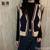 針織馬甲 秋冬毛衣2021年新款女打底衫內搭復古撞色針織開衫馬甲外套上衣服 suger