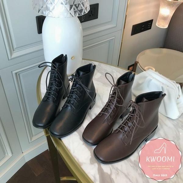 低跟短靴 馬丁靴 騎士靴 馬甲綁帶 踝靴*KWOOMI-A104