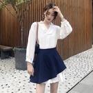 時尚套裝女秋新款寬鬆荷葉邊長袖襯衫洋裝 不規則高腰半身A字裙