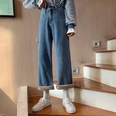 牛仔長褲waitmore褲子直筒泫雅秋冬新款韓版寬鬆高腰復古加絨闊腿牛仔褲女 易家樂