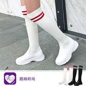 歐美學院風個性百搭襪靴設計松糕平底靴/2色/35-43碼 (RX1107-8600-1) iRurus 路絲時尚