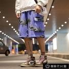 夏季新款超火cec國潮短褲男寬鬆鯊魚印花潮牌嘻哈潮流運動五【全館免運】