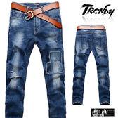 『潮段班』【SD033238】M-XL布料拼接後口袋縫線造型牛仔長褲 休閒長褲 牛仔褲