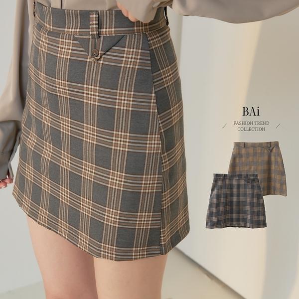 三角標單釦格紋拉鍊褲裙M-L號-BAi白媽媽【310914】