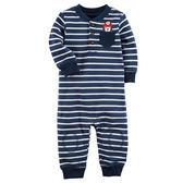 Carter's平行輸入童裝 男寶寶 純棉薄長袖兔裝 深藍橫條【CA118H964】