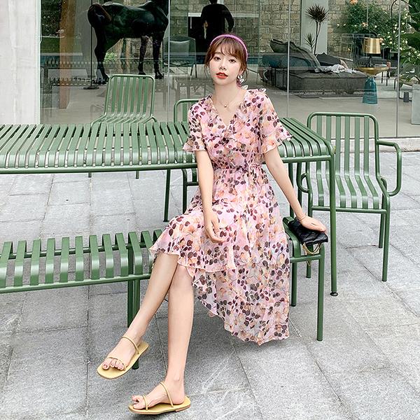 出清388 韓國風雪紡ins氣質修身顯瘦v領碎花短袖洋裝