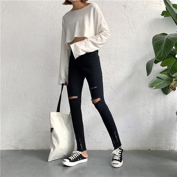 【GZ H1】黑色膝蓋破洞牛仔褲 高腰顯瘦彈力緊身小腳褲 破褲