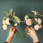 ins風仿真花假花玫瑰繡球混搭花束家居客廳裝飾擺設絹花花藝擺件 快速出貨