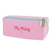 小禮堂 美樂蒂 方形尼龍拉鍊筆袋 鉛筆盒 鉛筆袋 (粉 LOGO) 4930972-50177